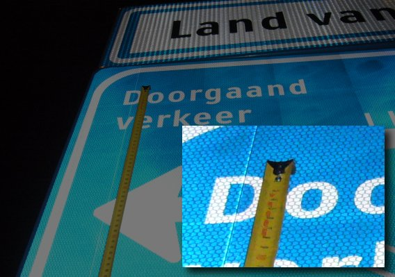 Traffic sign with tiny letters